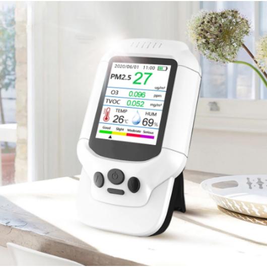 7 az 1-ben O3 (Ózon) hordozható PM2,5 PM1,0 PM10 hőmérsékleti páratartalom TVOC levegőminőség-figyelő